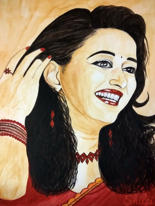 Watercolor Portrait Smiling Woman by Shilpi Gupta