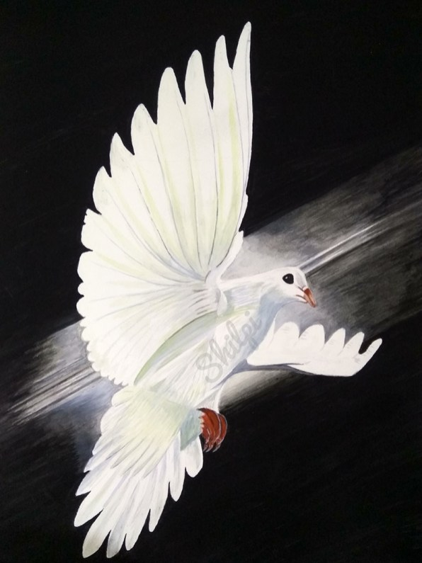 White Bird Flying Watercolor by Shilpi Gupta