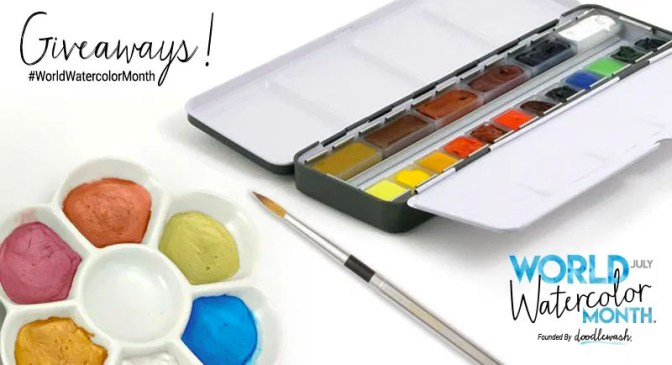 World Watercolor Month July Giveaways Share Graphic