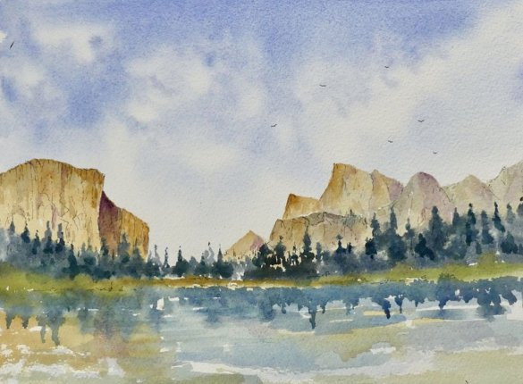 Yosemite Watercolour Painting Sketch