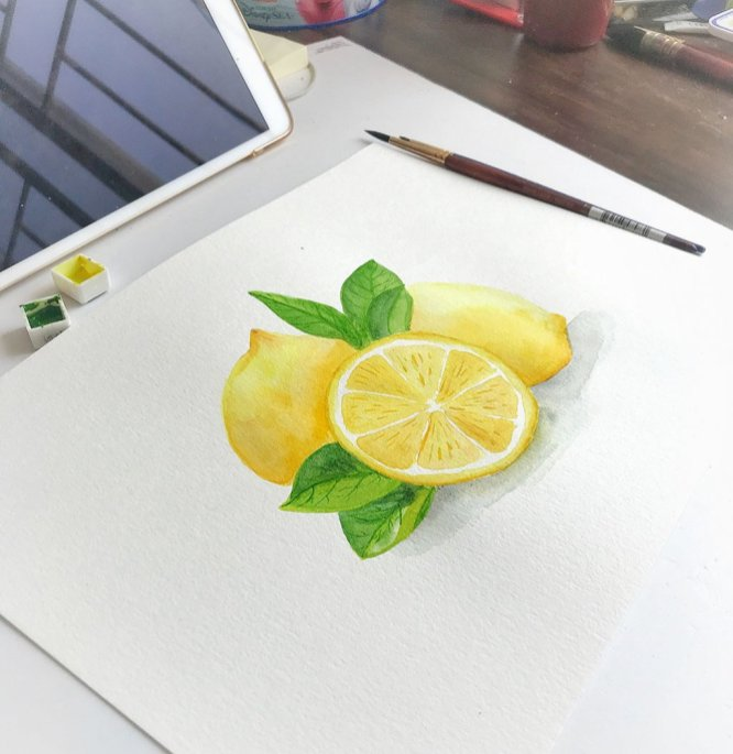 lemons watercolor painting