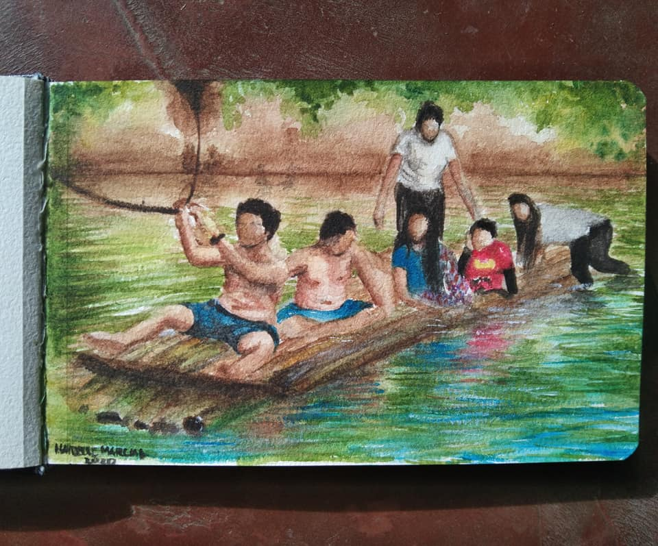 I made a watercolor painting of me and my cousins riding a bamboo boat. This photo was taken last Ap