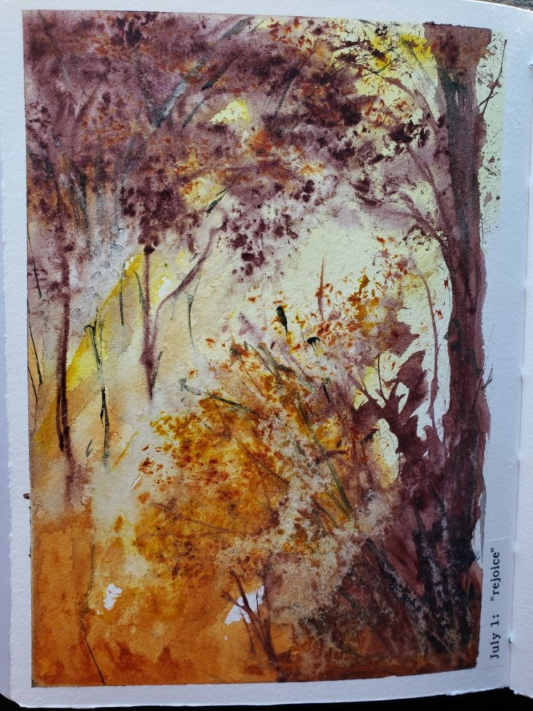 """#WorldWatercolorMonth """"rejoice"""" Seeing sunlight streaming through trees always make me f"""