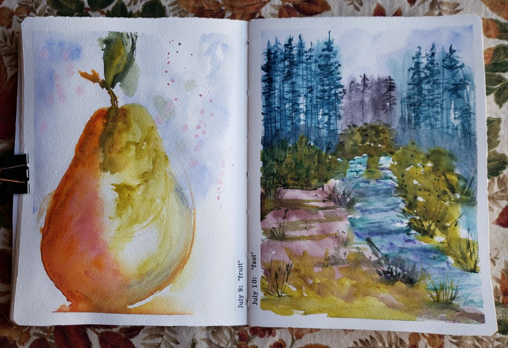 #worldwatercolormonth day 7 : free day 8 : fall day 9 : fruit day 10: fast 20200711_17340820200711_1
