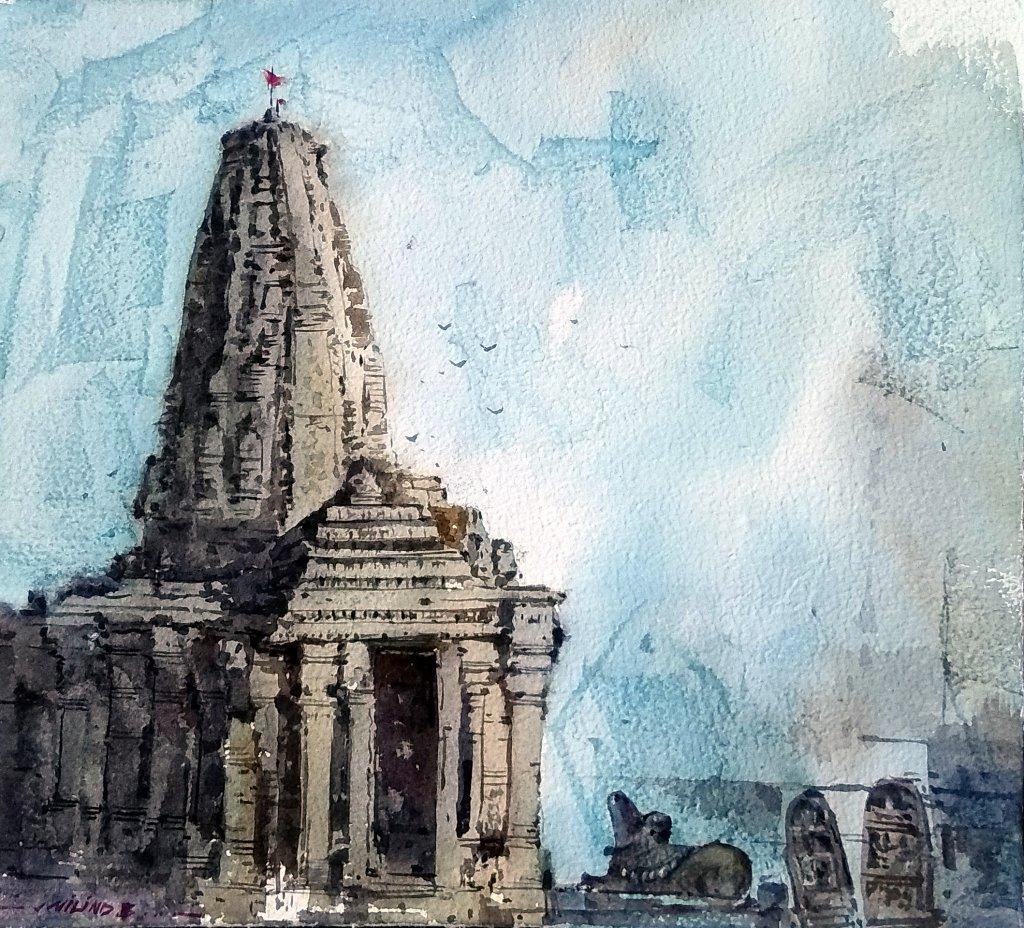 Temple Series: INDIA Watercolor painting by : Milind Bhanji Amruteshwar Temple_Milind Bhanji