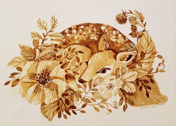 Baby Deer Fawn Watercolor by Jitka Zajíčková
