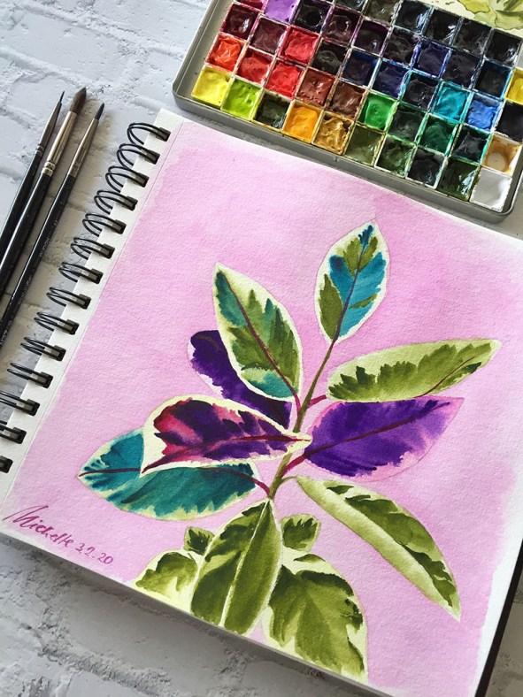 Colorful Leaves Watercolor by Michelle Gonzalez