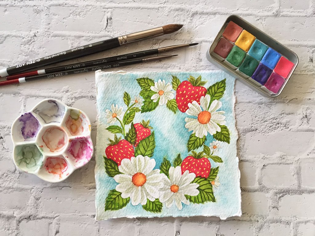 Daisies and Strawberries Pattern by Michelle Gonzalez