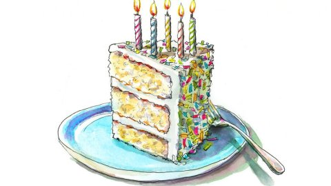 Birthday Cake Candles Five Watercolor Illustration Painting