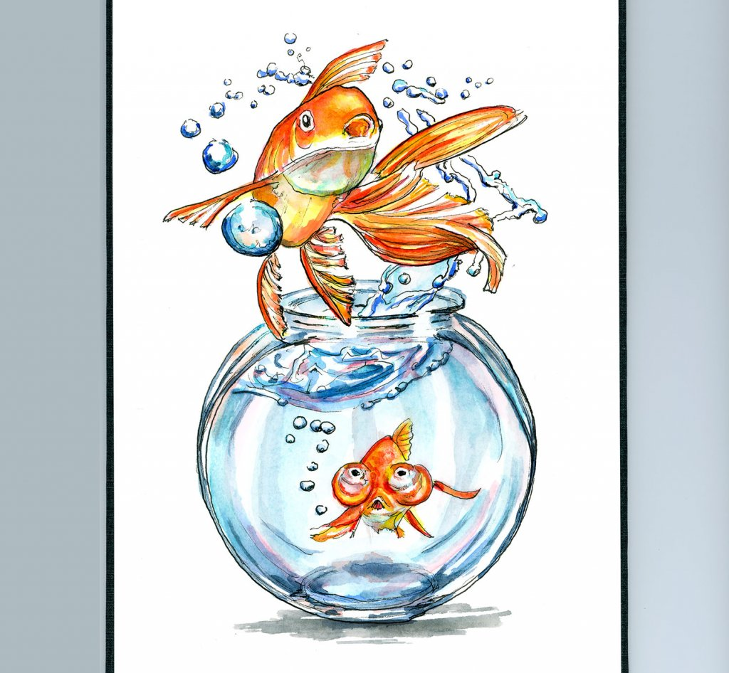 Goldfish Jumping Out Of Bowl Watercolor Painting Illustration Sketchbook Detail