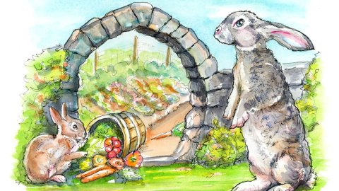 Bunny Rabbits Vegetable Garden Watercolor Painting Illustration
