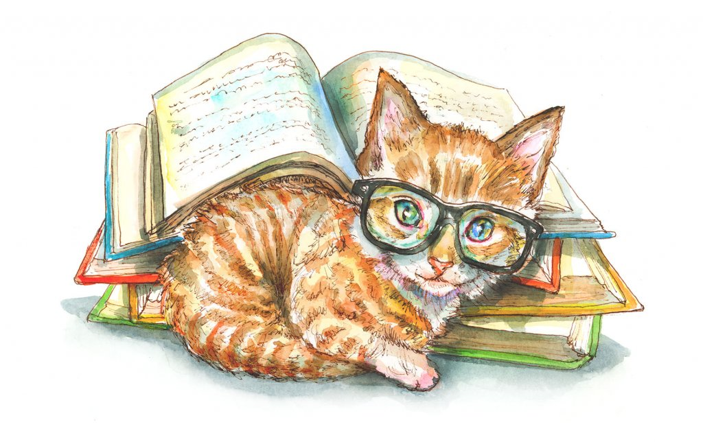 Cat Wearing Glasses Books Watercolor Painting Illustration