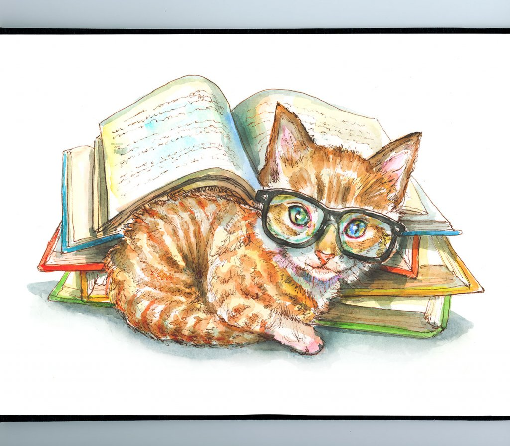 Cat Wearing Glasses Books Watercolor Painting Illustration Sketchbook Detail