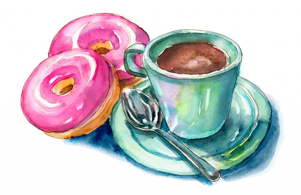 Pink Donuts And Coffee Mug With Spoon Watercolor Painting Illustration