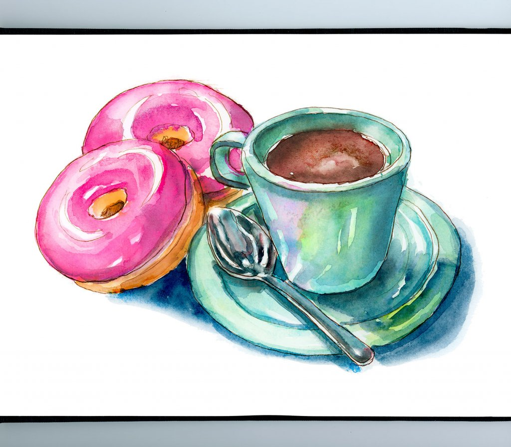 Pink Donuts And Coffee Mug With Spoon Watercolor Painting Illustration Sketchbook Detail