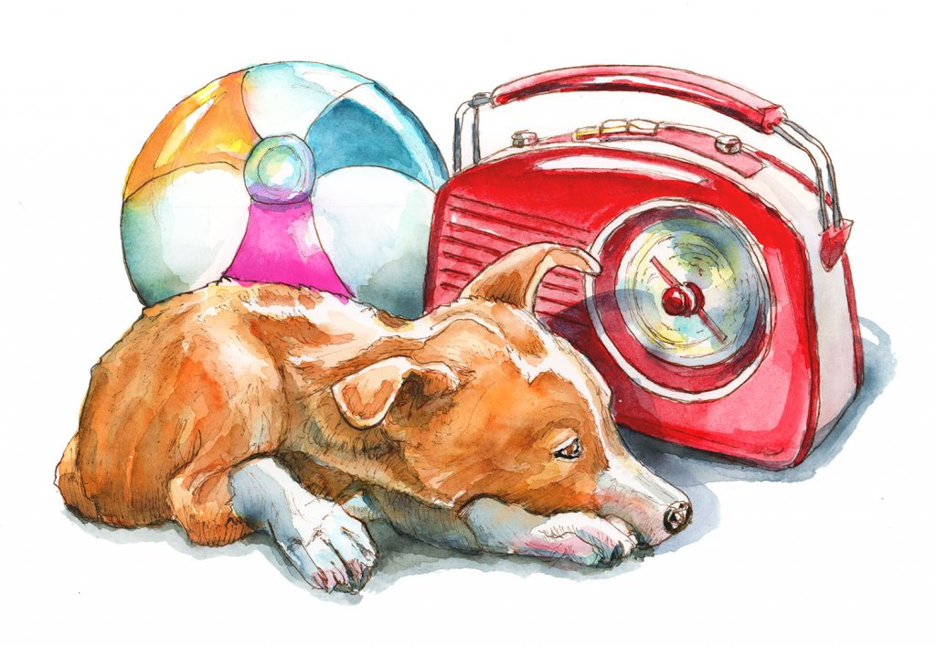 Retro Portable Radio 50s Beachball Dog Watercolor Painting Illustration