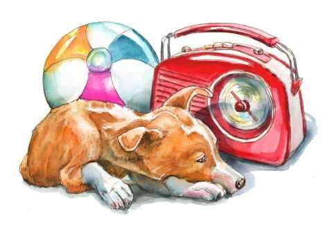 Retro Portable Radio 50s Beachball Dog Watercolor Painting Illustration