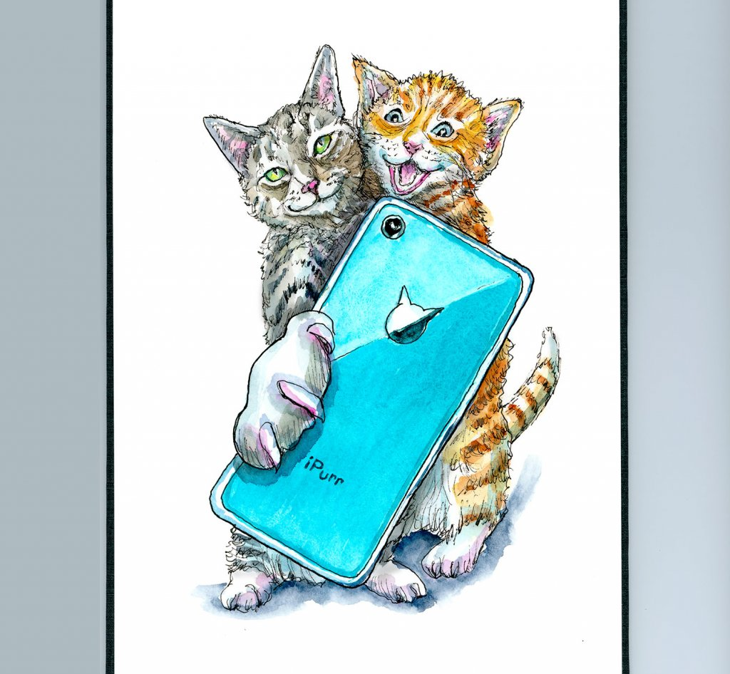 Cat Selfie Cats Taking Selfie With Phone Watercolor Painting Illustration Sketchbook Detail