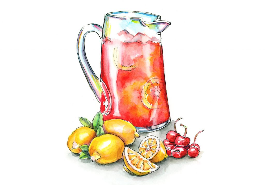 Cherry Lemonade Lemons Cherries Watercolor Illustration Painting