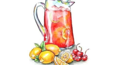 Cherry Lemonade Lemons Cherries Watercolor Illustration Painting