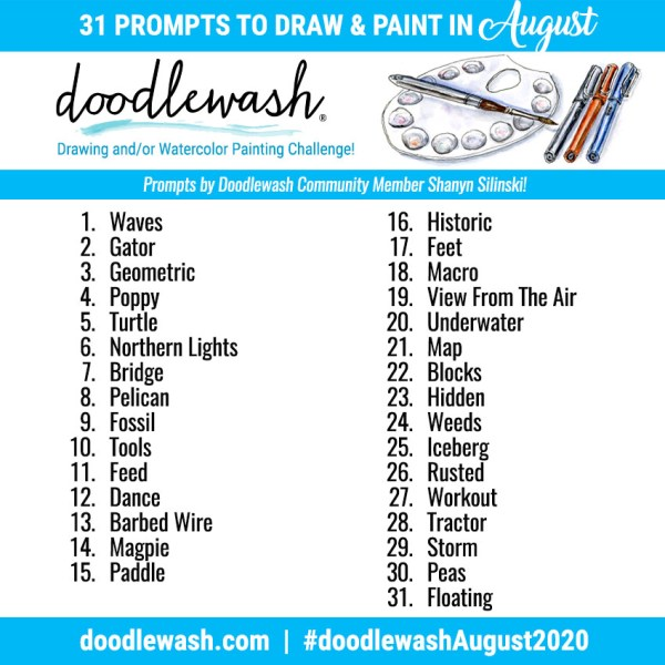 Doodlewash August 2020 Art Challenge Prompts