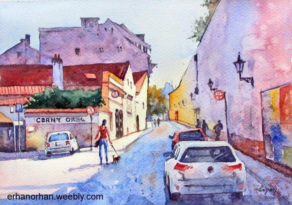 A Street in Prague, watercolor 20×29 cm Erhan Orhan-A Street in Prague,watercolor 20×29