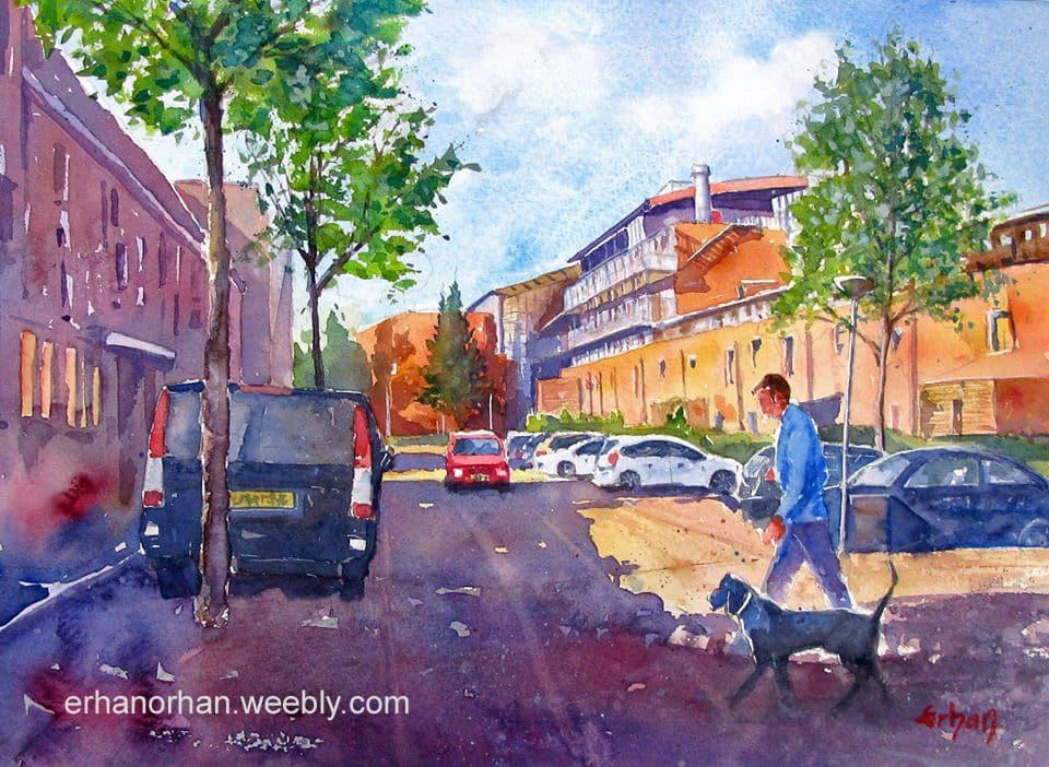 Almere, Holland, watercolor 26×36 cm Erhan Orhan-Almere, Holland