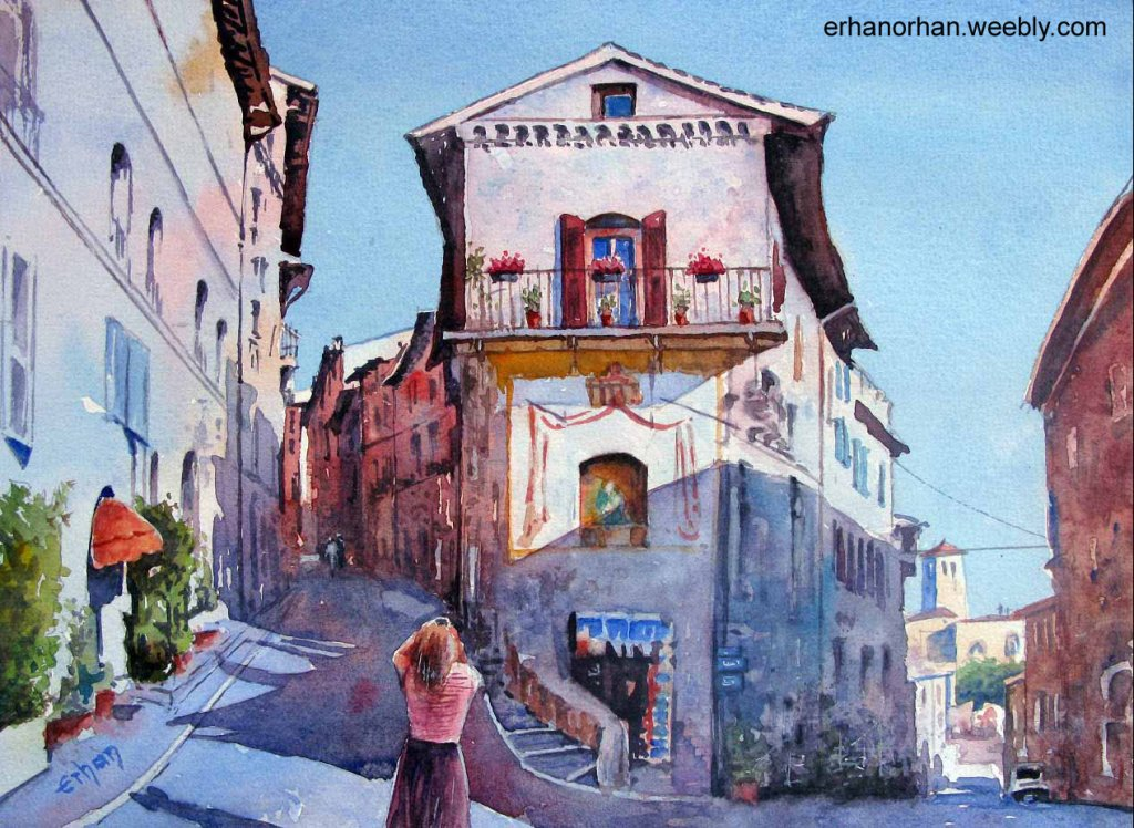Assisi Italy, watercolor 26×36 cm Erhan Orhan-Assisi Italy