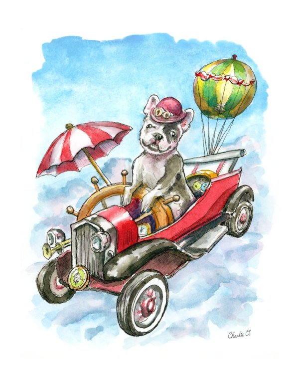 Steampunk Flying Machine with French Bulldog Watercolor Print Detail