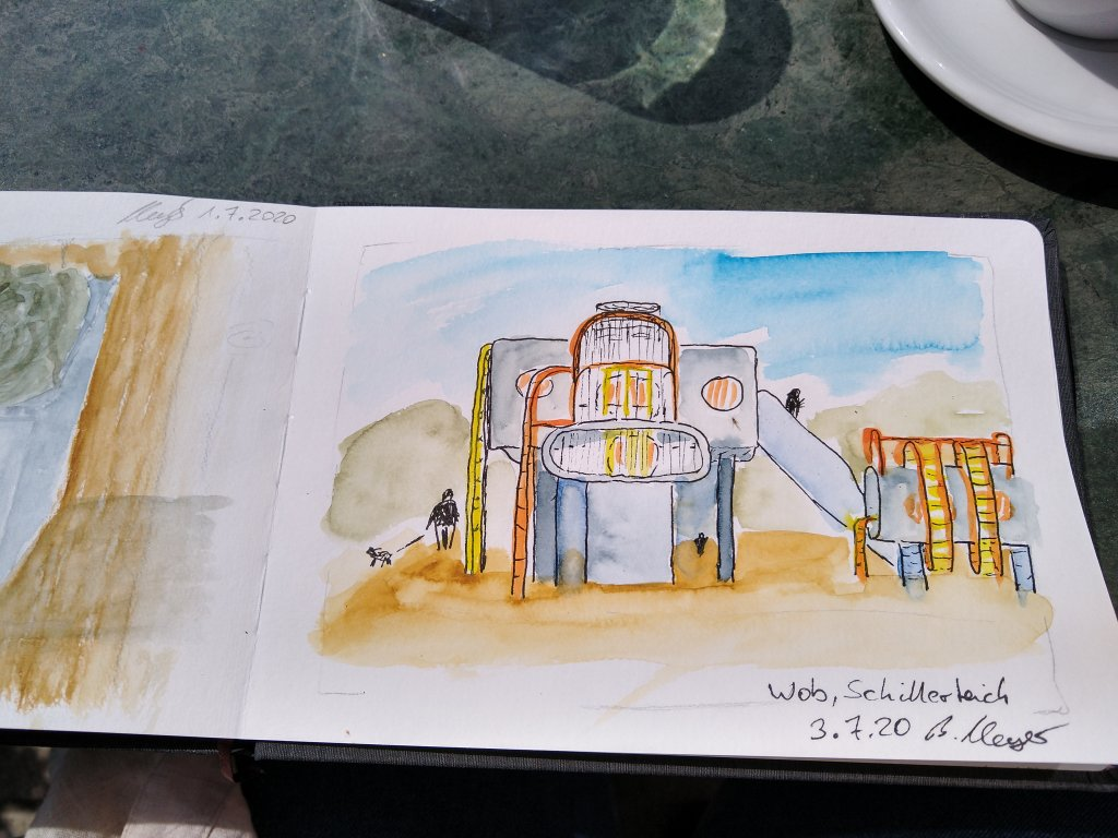 Urban Sketching in #WorldWatercolorMonth 😁 This is a playground in my hometown. Today there