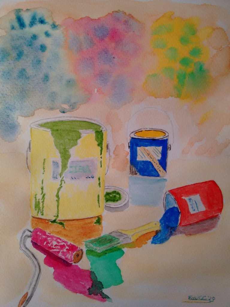 Acuarela, formato 21,27,9 cm grano fino 200g/m2 Tarros con pinturas, pinturas con brochas todo se co