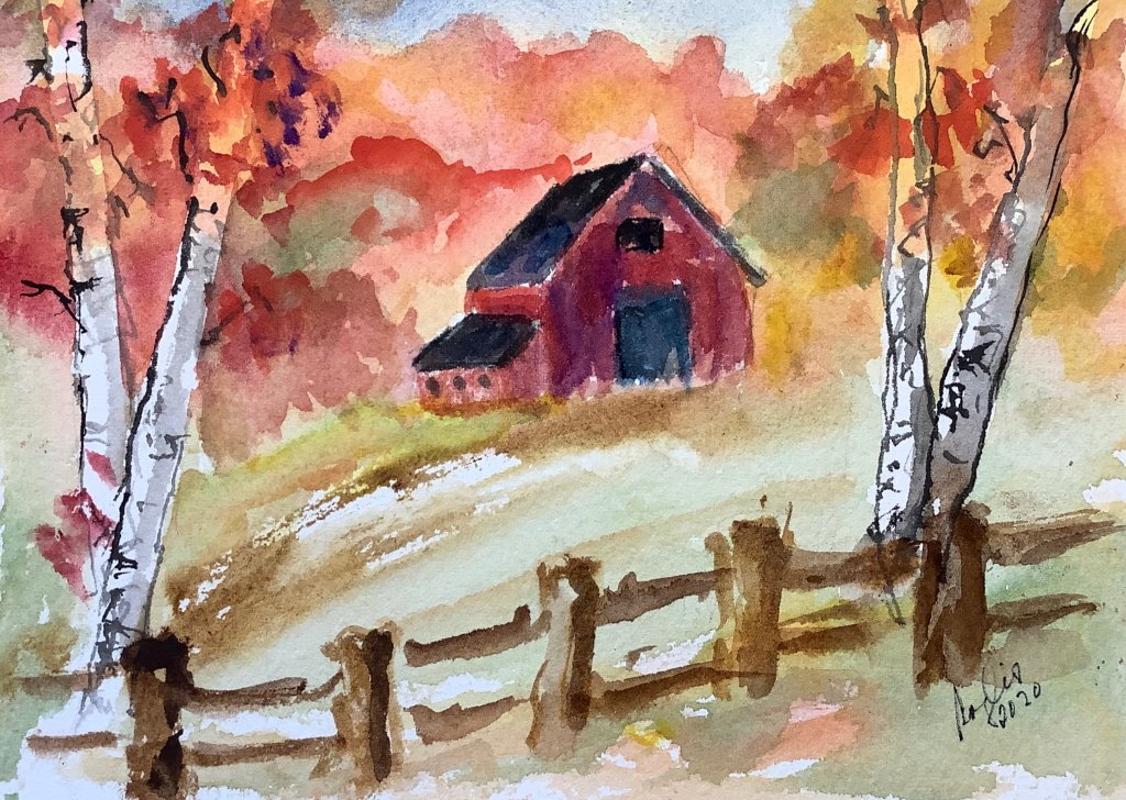 Worldwatercolormonth day 8 fall: a new england landscape IMG_2034