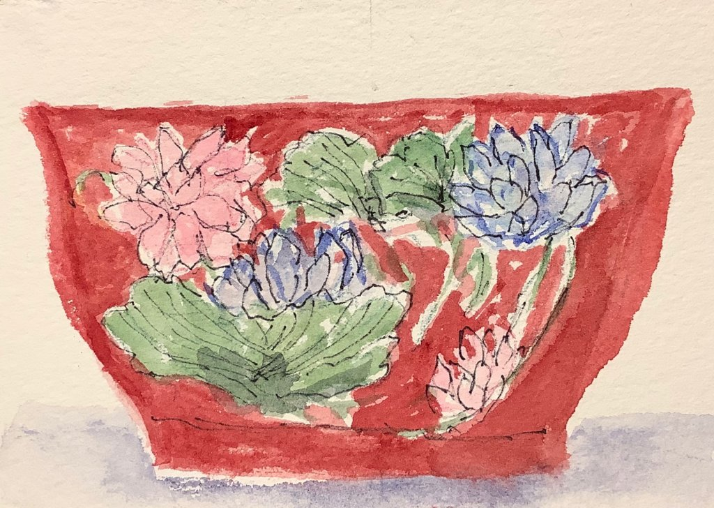 #worldwatercolormonth day 22: valuable: Falangco enamel bowl: sold for USD 9,552,485 IMG_2070