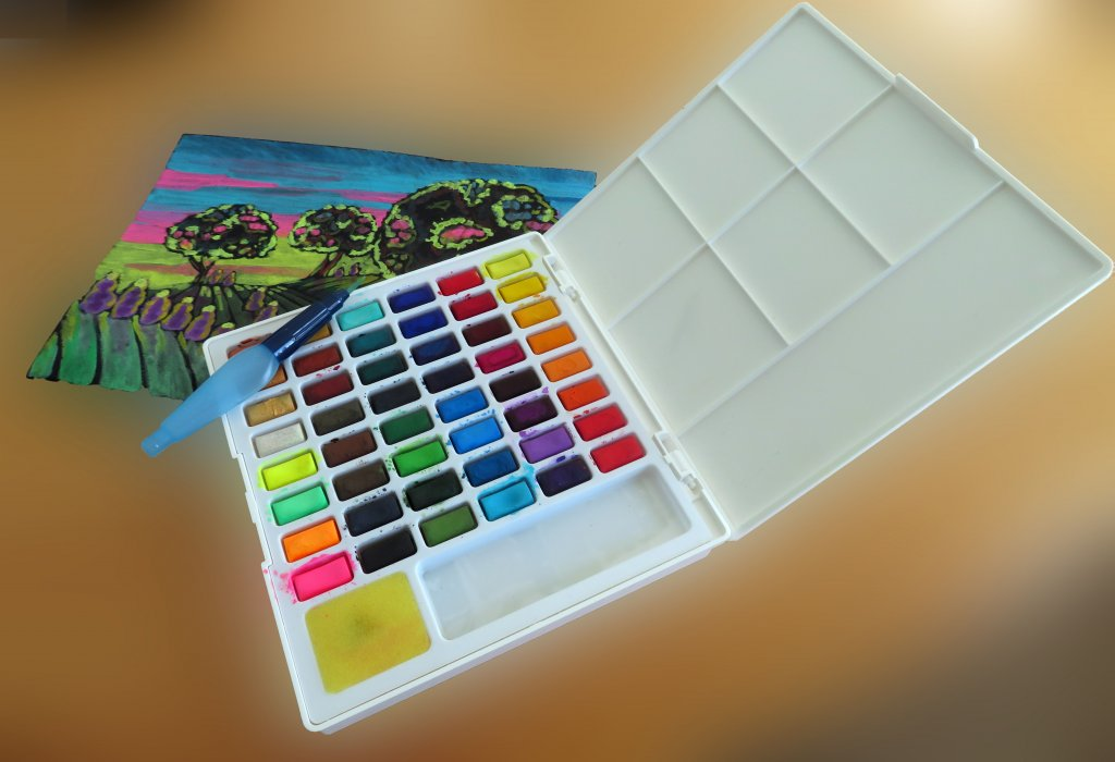 Interior view of Creative Studio Watercolour Palette