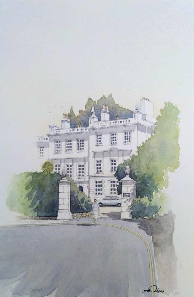 """ Lisburne Crescent "" Torquay, England. Andrew Lucas Watercolour, 28 x 20 cm. Lisburne C"