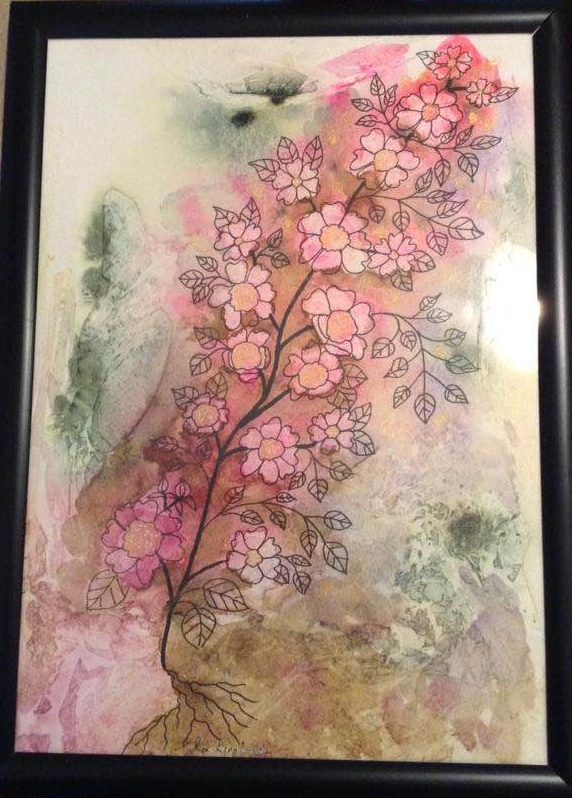 Blossom – Pink, green and brown wash with black ink doodles. Multi media blossoms
