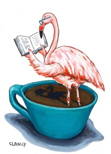 Flamingo illustration Sue Clancy