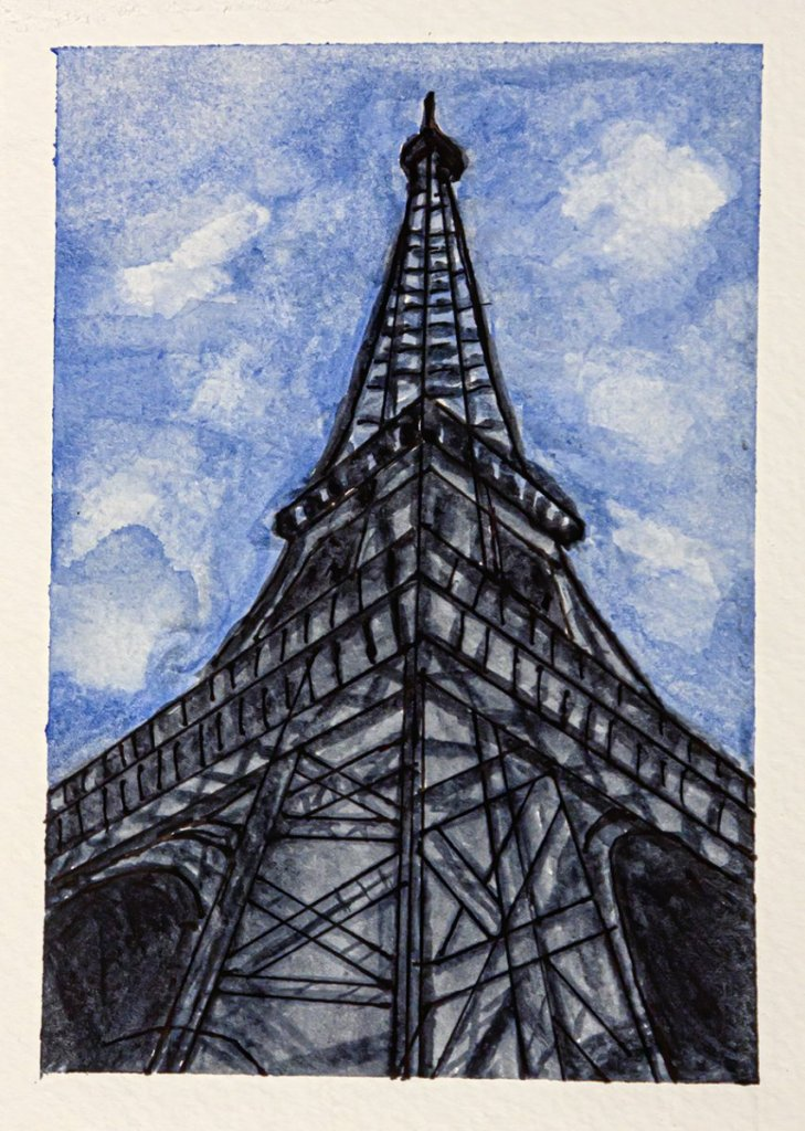 """Day 12 of World Watercolor Month, prompt is """"Favorite Place,"""" which for me is Paris. fav"""