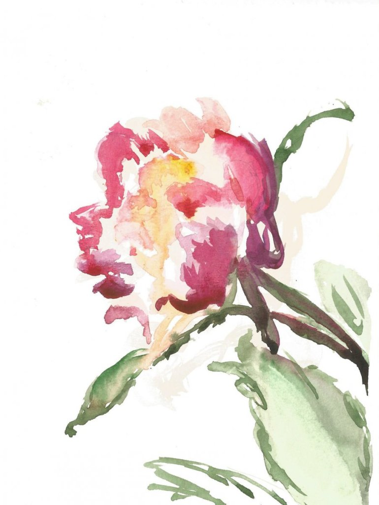 My peony, watercolor, small size 14(2)_14.8×19.8_2020