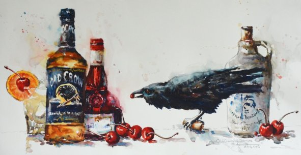 2013 Old Crow and Cherries 14x27 watercolor by Bev Jozwiak