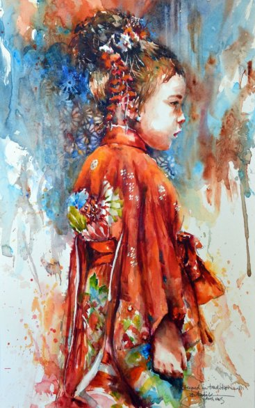 2015 Steeped in Tradition III 12x19 watercolor by Bev Jozwiak