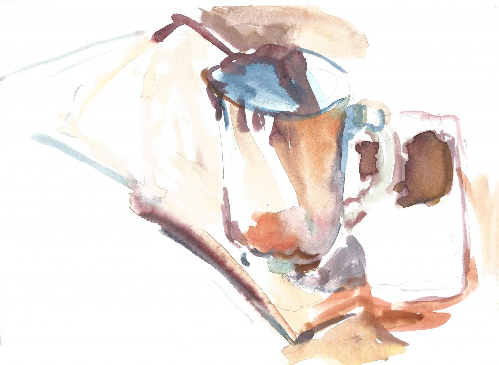 cup with phone, watercolor, 21 x 29.7 cm, 2020 r. 57(1)_21x29.7_2020