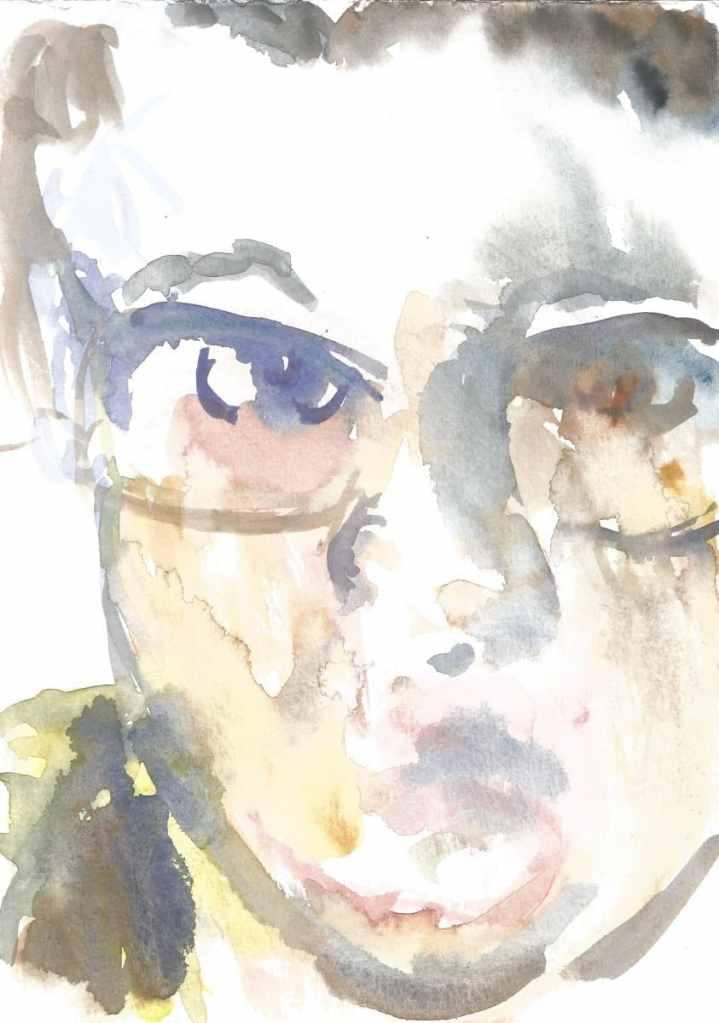 Portrait of artist, watercolor, 21 x 29.7 cm. 69(1)_21x29.7_2020