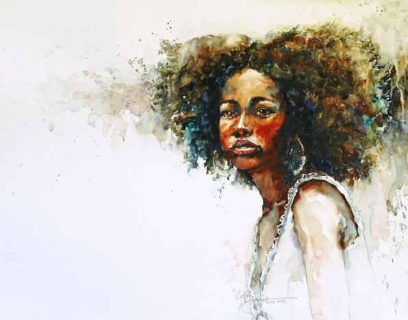 Black Woman Watercolor Portrait Cotton by Bev Jozwiak