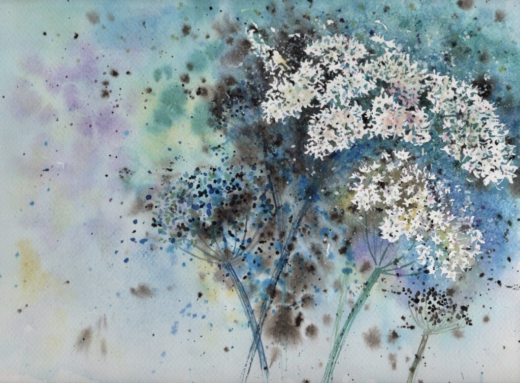 Hogweed, another experimental painting inspired by Ann Blockley manuals, this time the one entitled