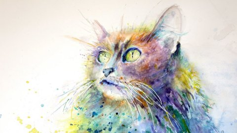 Cat Looking Up watercolor painting by Lavonne Cookman