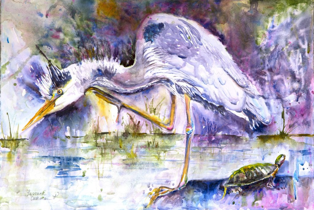 Crane watercolor by Lavonne Cookman