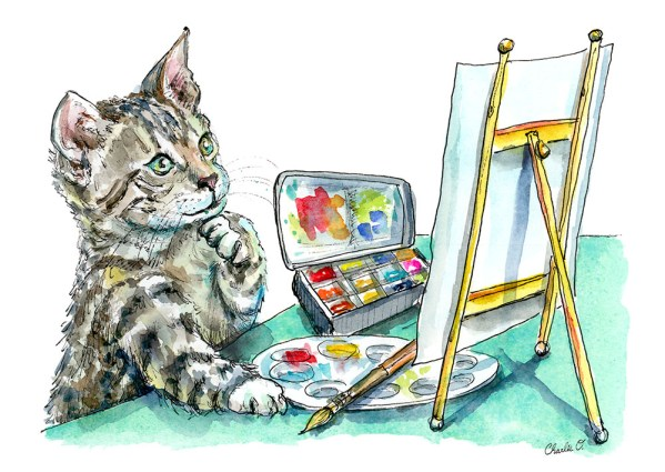 Cat Thinking Artist Easel Paint Watercolor Painting Illustration Watercolor Print Detail
