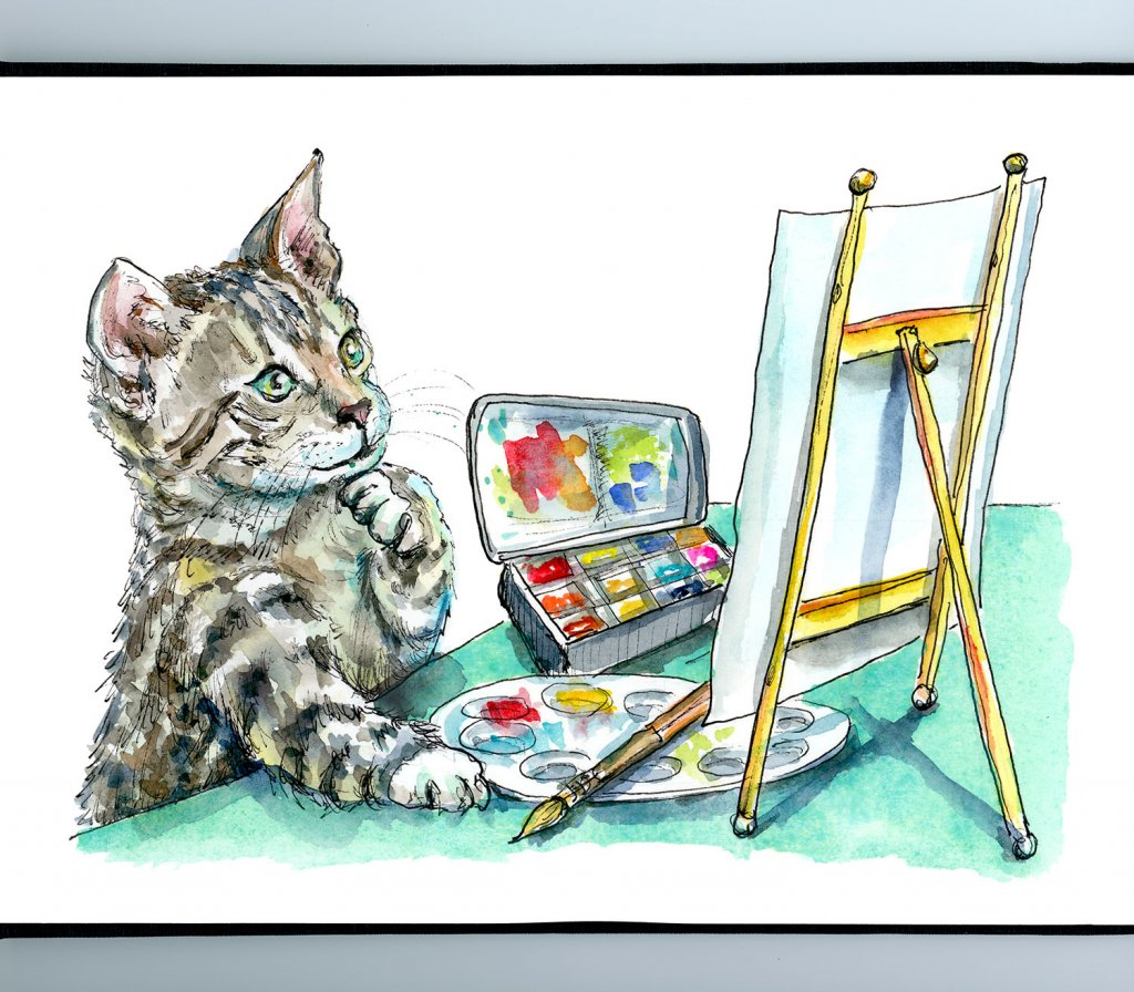 Cat Thinking Artist Easel Paint Watercolor Painting Illustration Sketchbook Detail