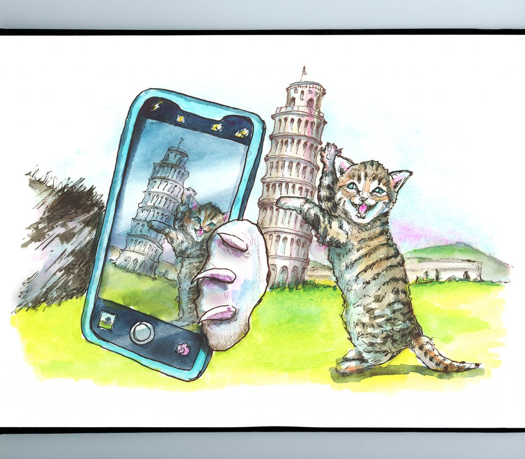 Cats Taking Selfie At Leaning Tower Of Pisa Watercolor Painting Illustration Sketchbook Detail